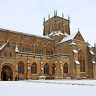 Snow covered Sherborne Abbey Dorset by chris-csfotobiz