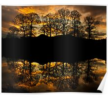 Sunset reflections on the river Brathay Poster