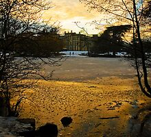 Sun setting over the Lake at Elvaston Castle by Elaine123