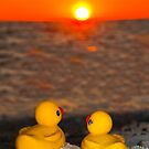 """Romancing The Sun"" - two rubber ducks at sunset by John Hartung"