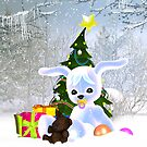 Baby's First Christmas Card Cute Puppy In snow by Moonlake