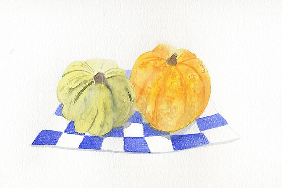 Green and Orange Squashes by Sue Brown