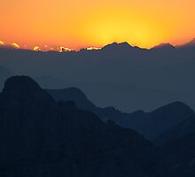 Sunset over the Julian Alps in Slovenia by toonartist