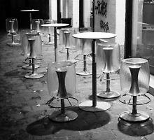 Pavia. Cafe at Night. Black and White. 2010 by Igor Pozdnyakov