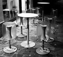 Pavia. Cafe at Night II. Black and White. 2010 by Igor Pozdnyakov