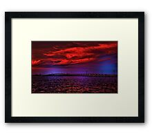 Sunset over Punta Gorda bridge Framed Print