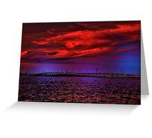 Sunset over Punta Gorda bridge Greeting Card
