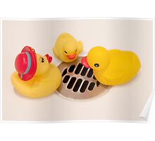 """""""Where Did All The Water Go?"""" - rubber ducks looking for water Poster"""