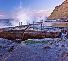 Splash! Waves breaking over Bogey Hole by Liz Percival