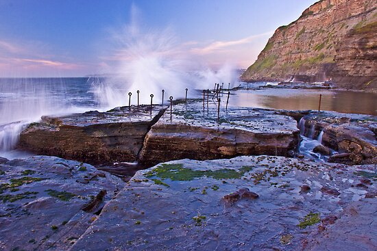 Splash! Waves breaking over Bogey Hole by Liz Percival