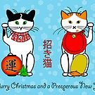 Maneki neko (Japanese lucky cat) Christmas card by nekineko