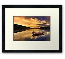 Red boat,Blue sky,Yellow Clouds. Framed Print