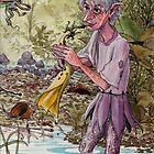 elf plays the trumpet flower in a pond by frey  micklethwait