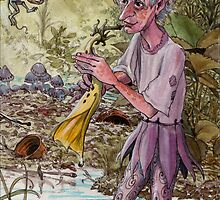 elf plays the trumpet flower in a pond by frey  micklethwait