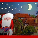 Merry Christmas, Santa on rooftops by Mary Taylor