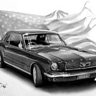 1966 Mustang drawing by John Harding