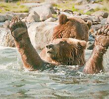 """Score!"" - brown bears playing by John Hartung"