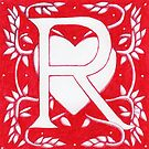 Red Heart Letter R by Donnahuntriss