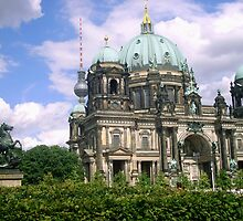 Museum statue, TV tower and Catholic Dom in Berlin, Germany by Nick Winwood