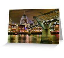 St Paul`s Catherderal and Millennium Footbridge - Night - HDR Greeting Card