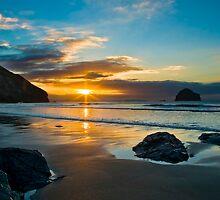 Trebarwith Strand Winter Sunset 2 by David Wilkins