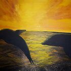 Dolphins at Sunset by Esther Nadeau