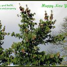 Happy New Year - Pine Cones Greeting Card by BlueMoonRose