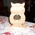 Owl mini wooden desk clock by FineCrafts