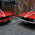 Two 70's convertable mustangs by Nigel Fox