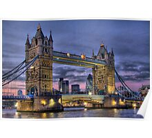 Tower Bridge And The City -  Twilight - HDR Poster
