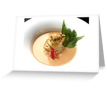 Fragrant Almond Laksa with noodles, fresh herbs and Oriental garden crispy prawns Greeting Card