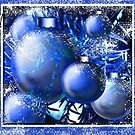"""Cool Blue Snow Ornaments"" by Steve Farr"