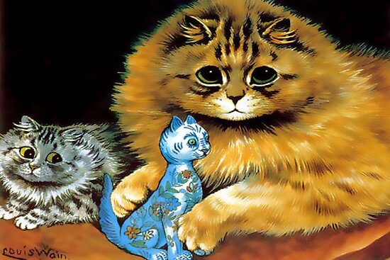 Vintage Doll Cat by Louis Wain by simpsonvisuals