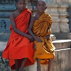 Young Monks at Mahabodhi Temple by Mukesh Srivastava