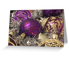 Purple Christmas Baubles Greeting Card