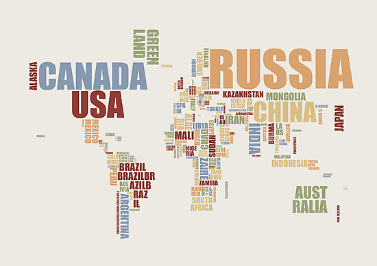 World Map in Words 2 by ArtPrints