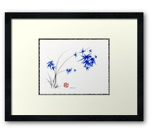 """Soft Blue Flowers"" Chinese Painting by Rebecca Rees Framed Print"