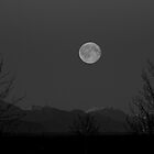 Full Moon over Chugach Mountains by Sally Winter