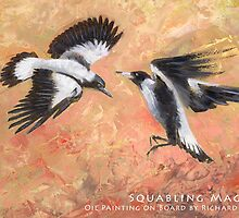 Squabbling Magpies oil painting - Postcard by EnPassant