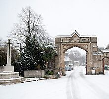 Snowy Gateway: West Norwood Cemetary, London, UK. by DonDavisUK