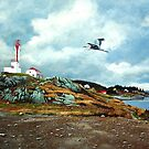 Blue Heron  Yarmouth Light by Frank Boudreau