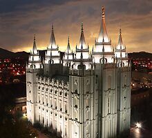 Salt Lake Temple Cloudy Sunset 20x24 by Ken Fortie