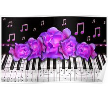 Piano Keyboard Purple Roses Poster