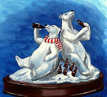 Festive holiday drinking cola polar bear sculpture by bernzweig