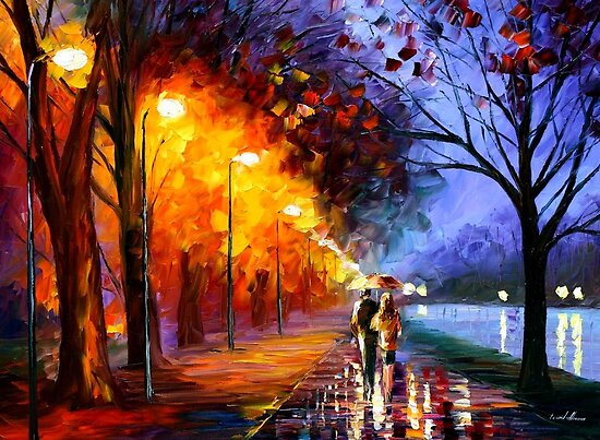 ALLEY BY THE LAKE - Original Art Oil Painting By Leonid Afremov by Leonid  Afremov
