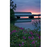 Lowell Covered Bridge at Sunset Photographic Print