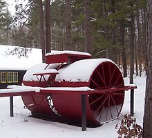 The equipment for building Roads in Winter time a snow Roller of1912 by cdcantrell