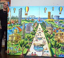 tel aviv naive paintings raphael perez art landscape painting by raphael perez