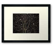 Falling Snow - Night Scene Framed Print