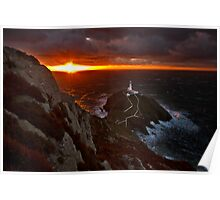Golden rays over South stack lighthouse Poster